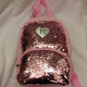 🆕Pink & silver Sequins bag w/ heart mini backpack